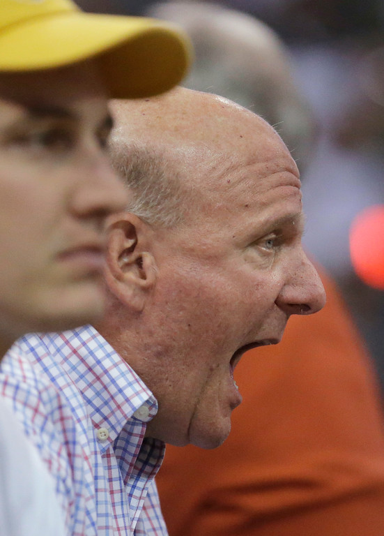 . Los Angeles Clippers owner Steve Ballmer shouts to the team during the second half in Game 6 of an NBA basketball first-round playoff series against the Utah Jazz on Friday, April 28, 2017, in Salt Lake City. The Clippers won 98-93, tying the series. (AP Photo/Rick Bowmer)