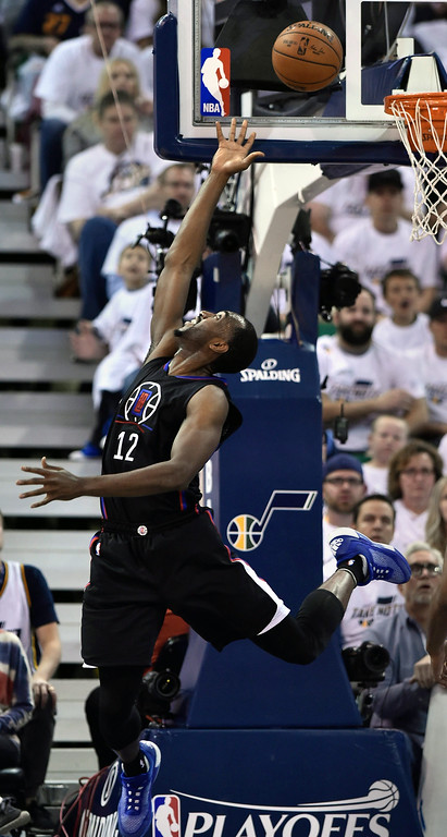 . SALT LAKE CITY, UT - APRIL 28: Luc Mbah a Moute #12 of the Los Angeles Clippers makes a basket in the first half against the Utah Jazz in Game Six of the Western Conference Quarterfinals during the 2017 NBA Playoffs at Vivint Smart Home Arena on April 28, 2017 in Salt Lake City, Utah. (Photo by Gene Sweeney Jr/Getty Images)