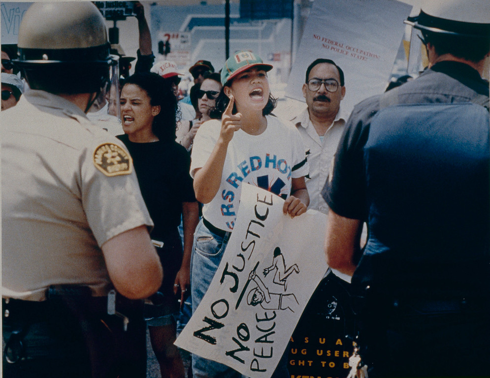 . Demonstrators near City Hall clash with officers on the Saturday after the riots began. May 2, 1992. (Photo by John McCoy/Los Angeles Daily News)