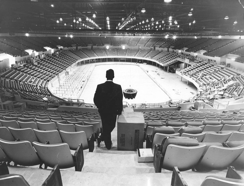 . Finished interior an empty Sports Arena just before dedication by Vice-President Richard M. Nixon. View is from the upper gallery looking south.  (1959: Photo courtesy Los Angeles Public Library)
