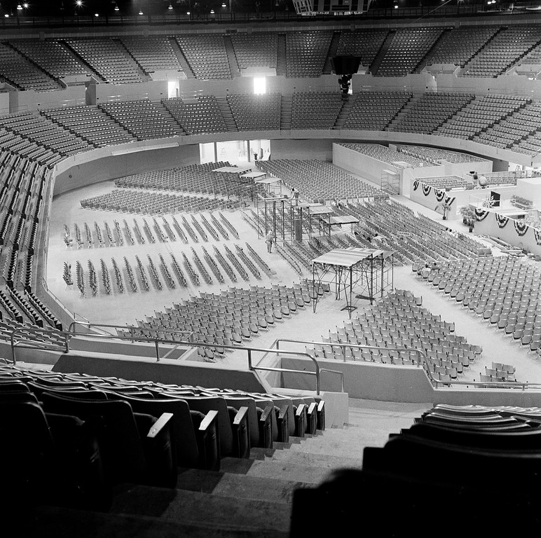 . Interior of the Los Angeles Sports Arena, June 30, 1960, as preparations for the Democratic Convention opening July 11, 1960 nearing completion.