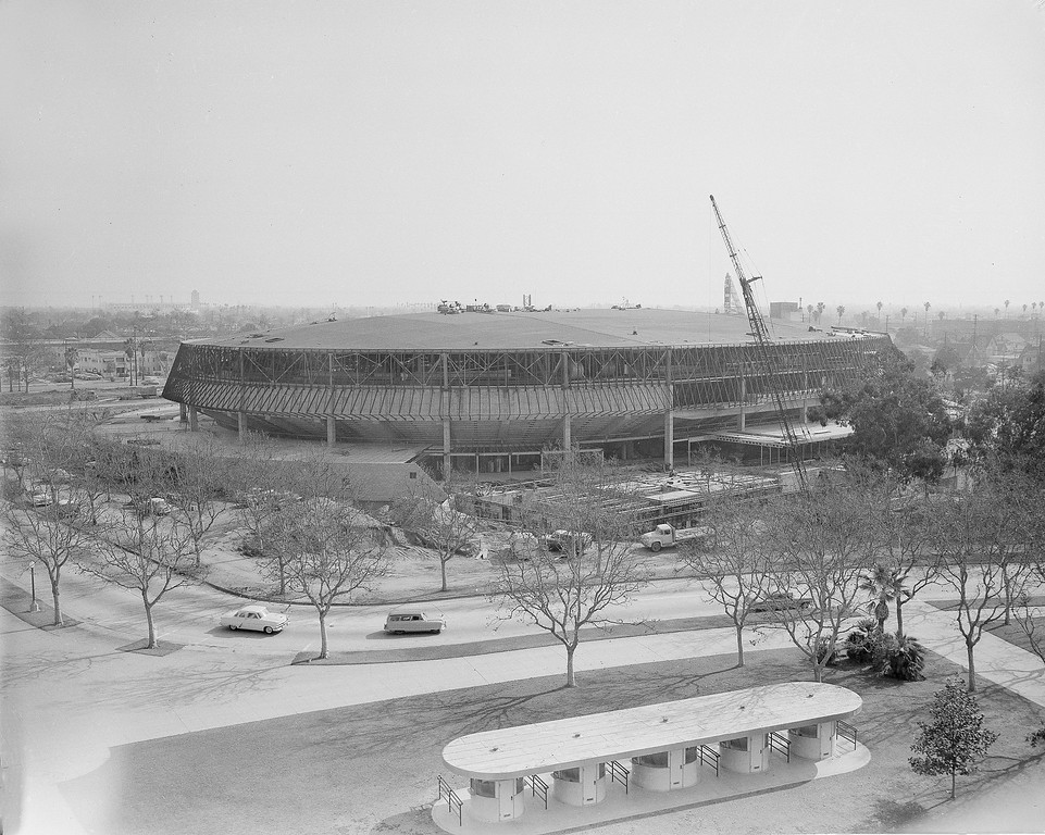 . Exterior view of the new Los Angeles Sports Arena as it appears under construction, Jan. 20, 1959. (AP Photo/Harold Filan)
