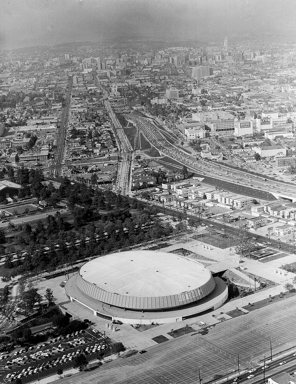 . Aeriall view of Los Angeles Sports Arena, site of the 1960 Democratic National Convention, with downtown Los Angeles in background, May 20, 1960. (AP Photo/Harold Filan)