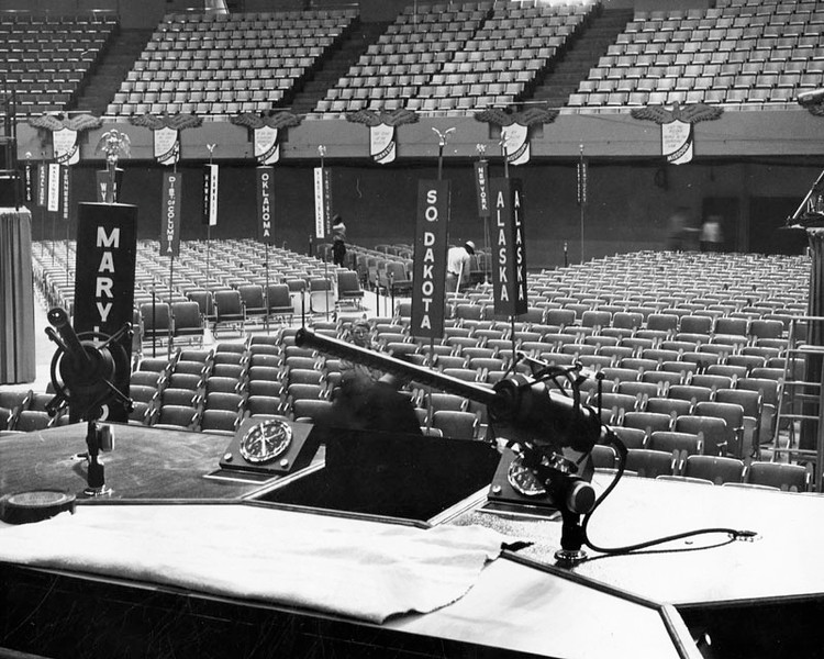 . Photo dated July 11, 1960, This is view from speaker\'s podium at Los Angeles Memorial Sports Arena where 1960 Democratic National Convention. This view was considerably changed by Monday, however. Speakers were looking out at some 4,700 delegates and alternates.  (Los Angeles Public Library)