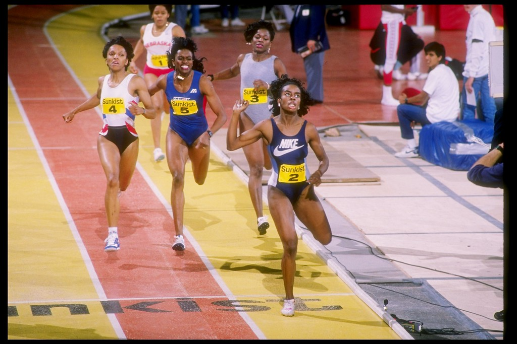 . 1989:  Diane Dixon, Lille Leathernood, Sandra Patrick and Val Brisco run down the track during the Sunkist Indoor Track Championships at the Los Angeles Sports Arena in Los Angeles, California. (Tim de Frisco  /Allsport)