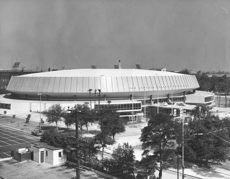. The exterior of the newly built Sports Arena in 1959 to be dedicated by Vice-President Richard M. Nixon. The Los Angeles Memorial Sports Arena is about to become just a memory. City leaders are holding a closing ceremony Thursday, May 12, 2016, for the building that hosted some of the 20th century\'s biggest moments in sports, politics and rock \'n\' roll. (1959: Photo courtesy Los Angeles Public Library)