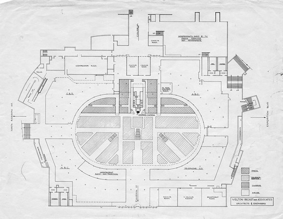 . View of the Democratic Convention floor plan. The plan shows the designated areas for the various media stations that will surround the speakers platform, delegates and press seating in the Sports Arena. (1960: Photo courtesy Los Angeles Public Library)