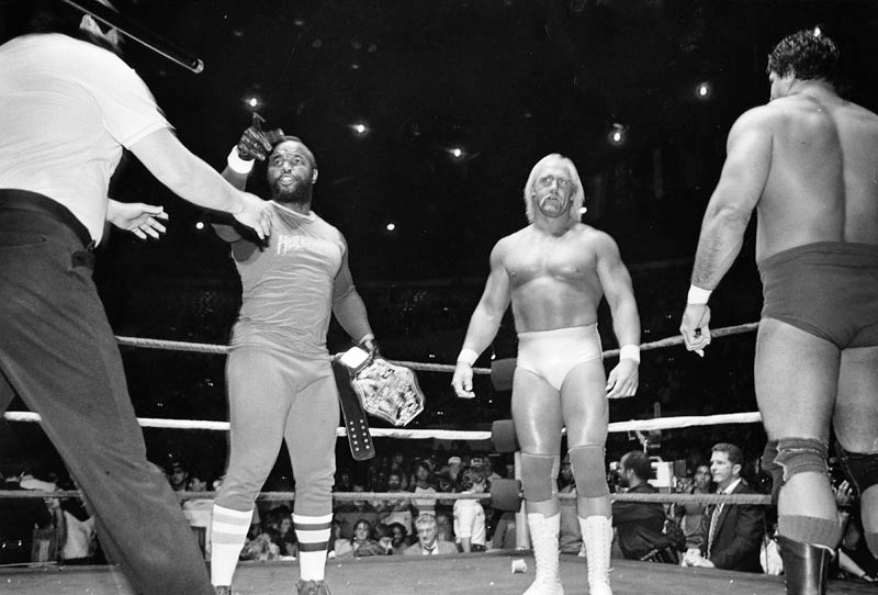 . Mr. T and Hulk Hogan point and scowl appropriately at their foes in World Wrestling Federation match at the Sports Arena. Mr. T did not actually grapple--this time. Photo dated: March 8, 1985.  (Photo courtesy Los Angeles Public Library)