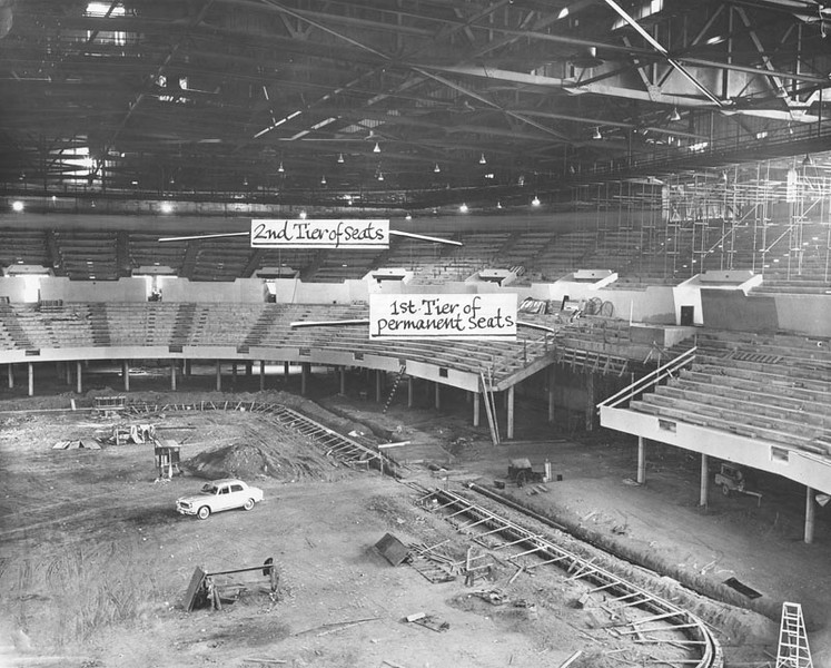 . View of the interior of the Sports Arena under construction on February 27, 1959. (Photo courtesy Los Angeles Public Library)