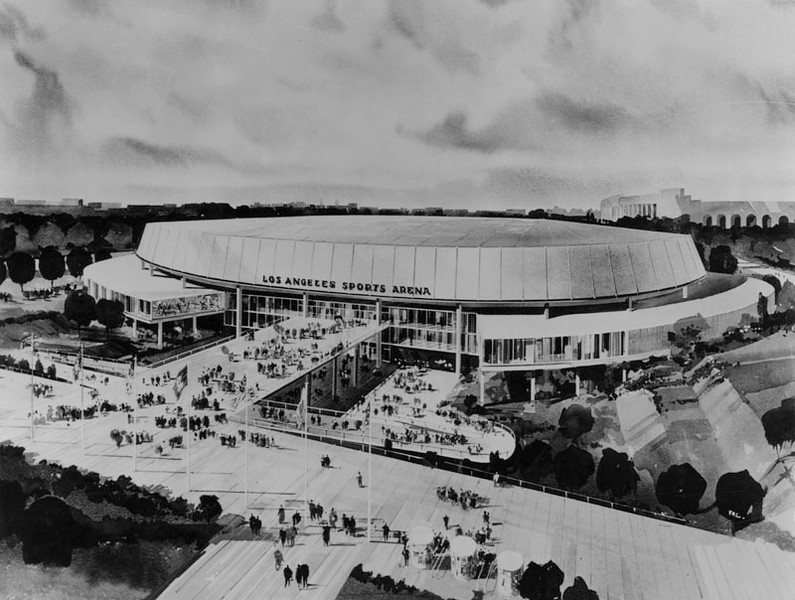 . Architect\'s drawing for the proposed Sports Arena. The structure would seat 20,000 for sports events and 30,000 for political conventions and is to cost $5,732,000.  (1957: Photo courtesy Los Angeles Public Library)