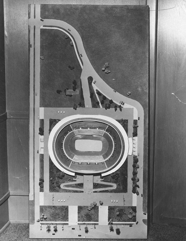 . Model of the Sports Arena and surrounding area, looking from above straight down. The roof of the arena has been removed revealing the interior layout. (1958: Photo courtesy Los Angeles Public Library)