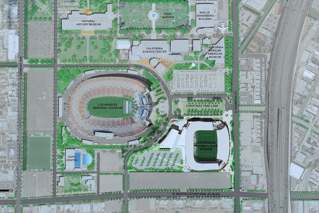 . Map of the area with the Los Angeles Football Club soccer stadium, lower right, at the site of the L.A. Sports Arena, Monday, May 18, 2015. (Photo by Michael Owen Baker/Los Angeles Daily News)