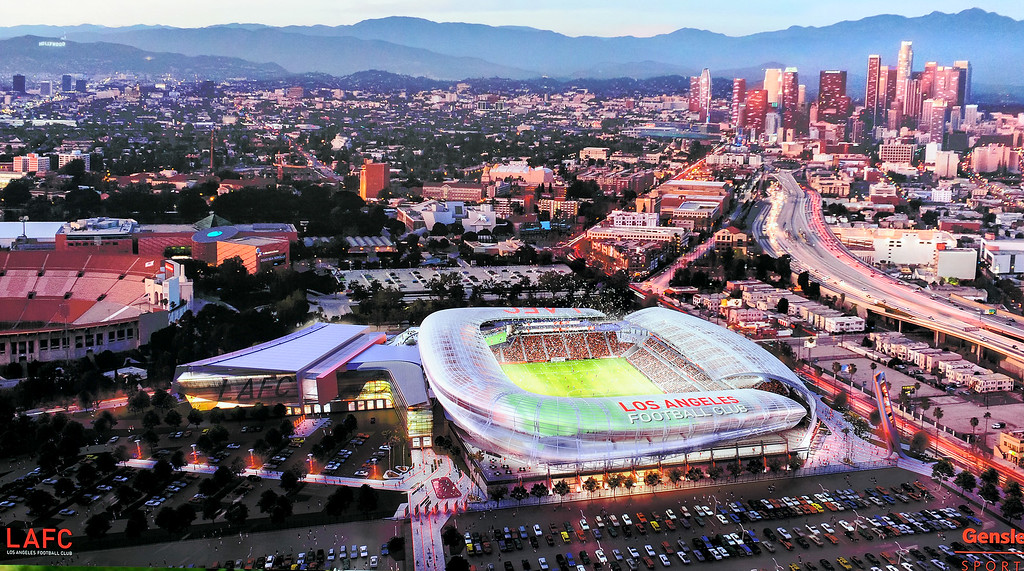 . Rendering of the Los Angeles Football Club soccer stadium to be built at the site of the L.A. Sports Arena, Monday, May 18, 2015. (Photo by Michael Owen Baker/Los Angeles Daily News)