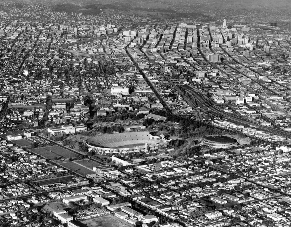 . An arial view shows the Los Angeles Memorial Sports Arena (right -center) in close proximity to the Civic Center on March 3, 1959.  At left of the arena is the 101,528 seat Memorial Coliseum. (AP Photo)