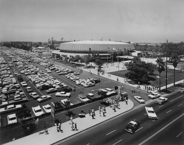 . Busy parking lot of the Sports Arena. The Sports Arena is shown in the background. (1971: Photo courtesy Los Angeles Public Library)