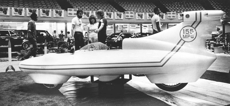 . Spectators at the Custom Car, Rod, Boat and Motorcycle Show examine the California Commuter displayed at the Los Angeles Sports Arena on  May 3, 1980. (Photo courtesy Los Angeles Public Library)