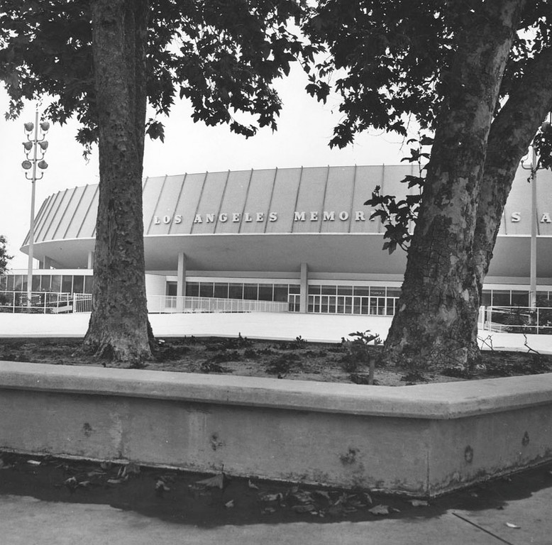 . Entrance to the Los Angeles Memorial Sports Arena in 1966. (Photo courtesy Los Angeles Public Library)
