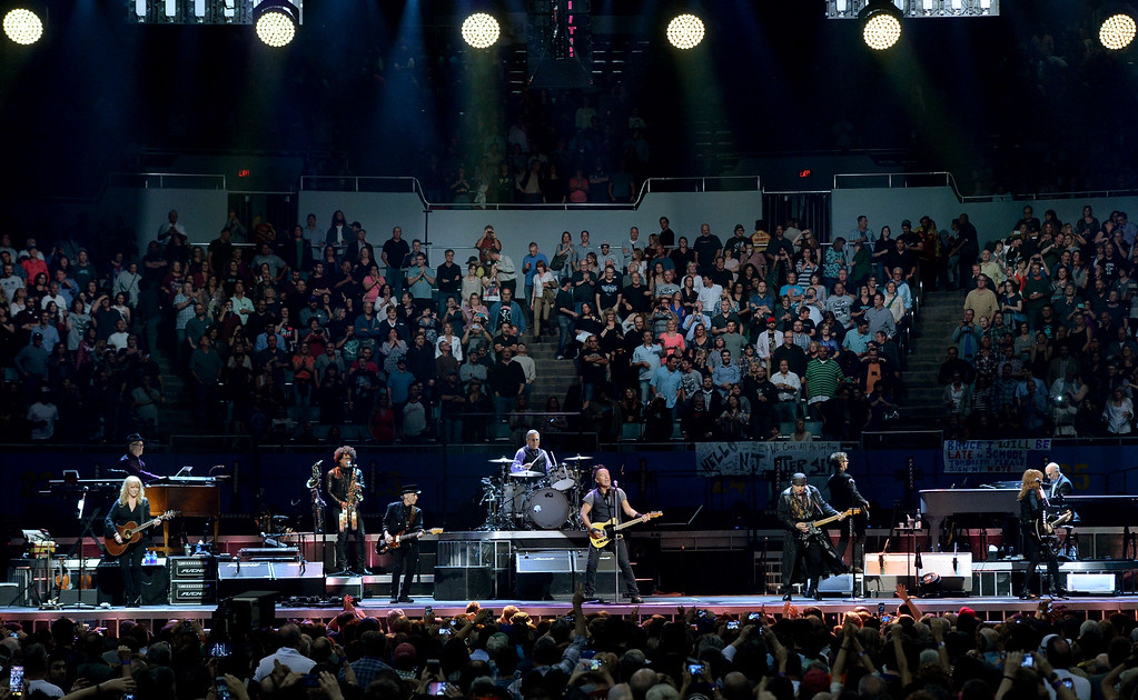 . LOS ANGELES, CA - MARCH 15:  Bruce Springsteen and the E Street Band performs at the Los Angeles Sports Arena on March 15, 2016 in Los Angeles, California.  (Photo by Kevin Winter/Getty Images)