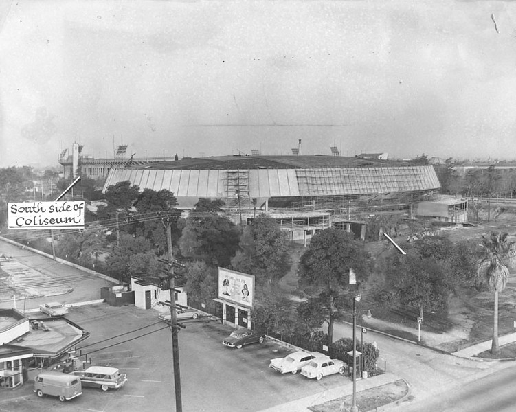 . Exterior view of the Sports Arena, about 80% complete, on the day it was officially selected as the site for the 1960 Democratic National Convention. (1959: Photo courtesy Los Angeles Public Library)