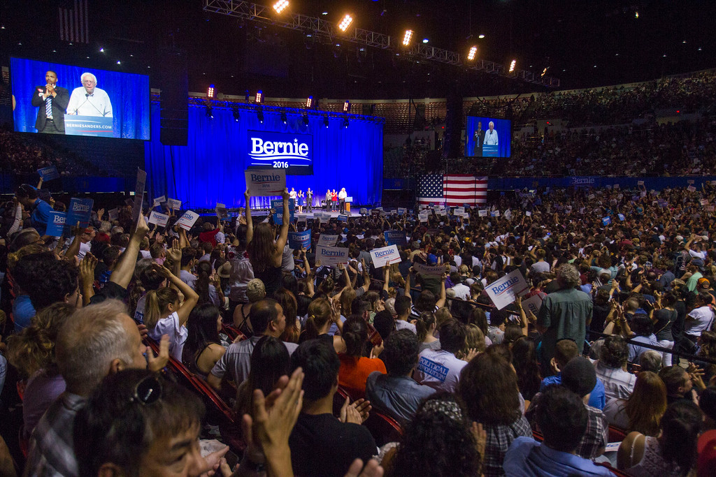 . Democratic presidential candidate Sen. Bernie Sanders, I-Vt., speaks at a rally, Monday, Aug. 10, 2015, at the Los Angeles Memorial Sports Arena in Los Angeles. (AP Photo/Ringo H.W. Chiu)