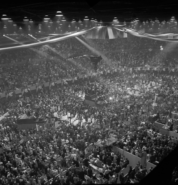 . A July 13,1960 general view of the demonstration which broke out at the Los Angeles Sports Arena when Adlai Stevenson was nominated for president.  (AP Photo/stf)