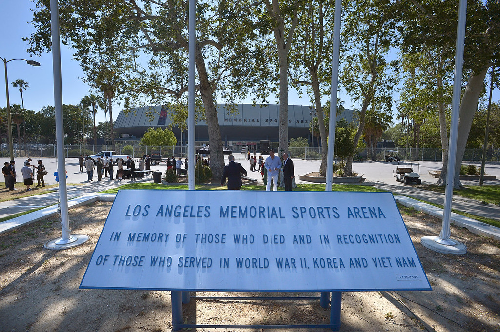 . A closing ceremony for the Los Angeles Memorial Sports Arena, which will be demolished to make way for the construction of a $240 million soccer stadium. Los Angeles, CA.  May 12, 2016. (Photo by John McCoy/Southern California News Group)
