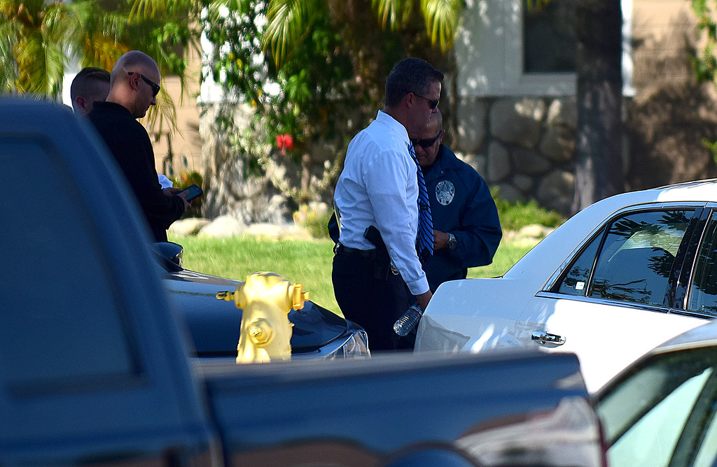 . Los Angeles Police detectives search the Rancho Cucamonga home of LAPD officer Robert Cain, 31, of the 77th Street Division. Cain was arrested Thursday, June 23, 2017 after detectives found evidence allegedly linking Cain to having sex with a 15-year-old girl, a cadet in the LAPD�s explorer program. (Doug Saunders, staff, Inland Valley Daily Bulletin/SCNG)