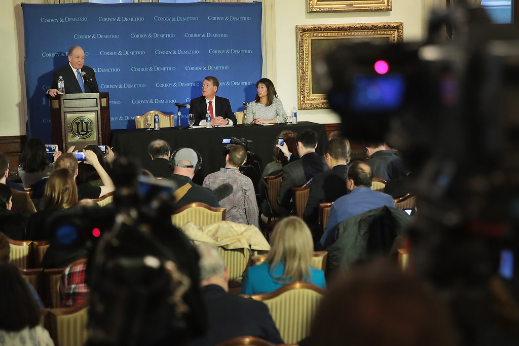 . CHICAGO, IL - APRIL 13:  Attorneys Thomas Demetrio (L) and Stephen Golan (C) hold a press conference with Crystal Dao Pepper, the daughter of Dr. David Dao, on April 13, 2017 in Chicago, Illinois. On April 9, Dr. Dao was forcibly removed from his airline seat by Chicago Department of Aviation police after he refused to give up the seat on an overbooked United Airlines flight. Per his attorneys, Dr. Dao suffered a concussion, a broken nose and lost teeth in the altercation.  (Photo by Scott Olson/Getty Images)