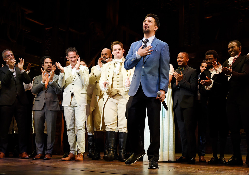 ". Lin-Manuel Miranda, creator of ""Hamilton: An American Musical,\"" acknowledges applause from the audience during the curtain call on the opening night of the Los Angeles run of the show at the Pantages Theatre on Wednesday, Aug. 16, 2017, in in Los Angeles. (Photo by Chris Pizzello/Invision/AP)"