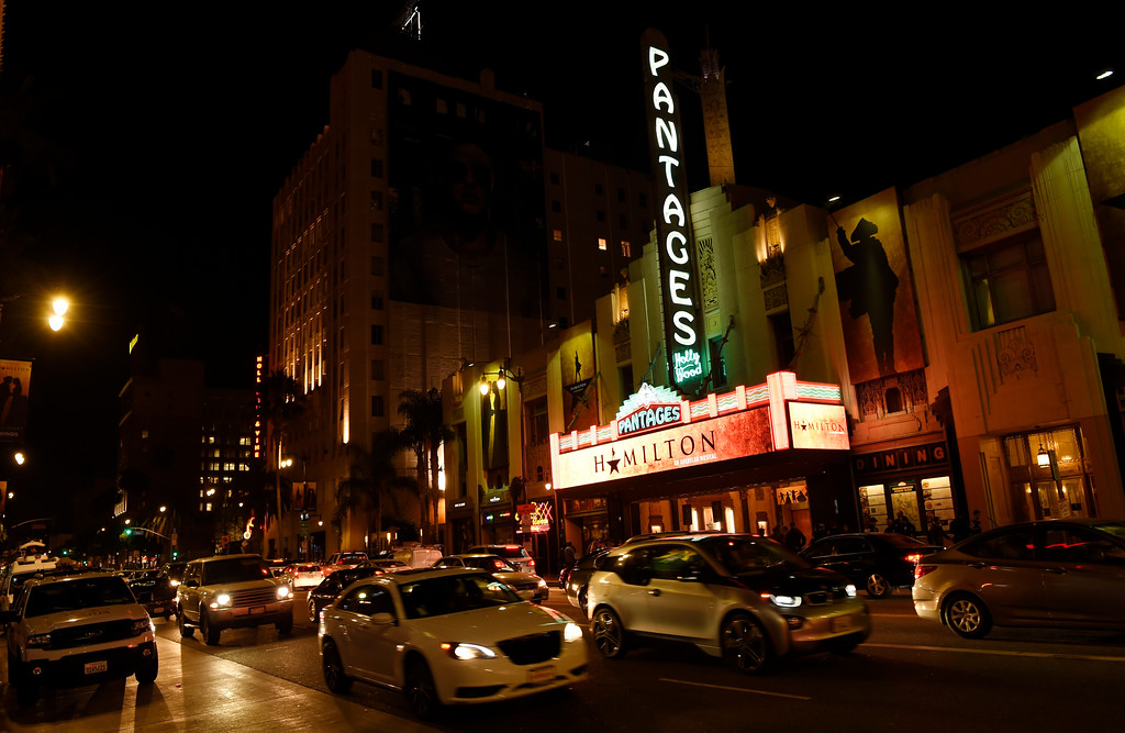 """. The Pantages Theatre marquee is pictured on the opening night of the Los Angeles run of \""""Hamilton: An American Musical\"""" on Wednesday, Aug. 16, 2017, in in Los Angeles. (Photo by Chris Pizzello/Invision/AP)"""