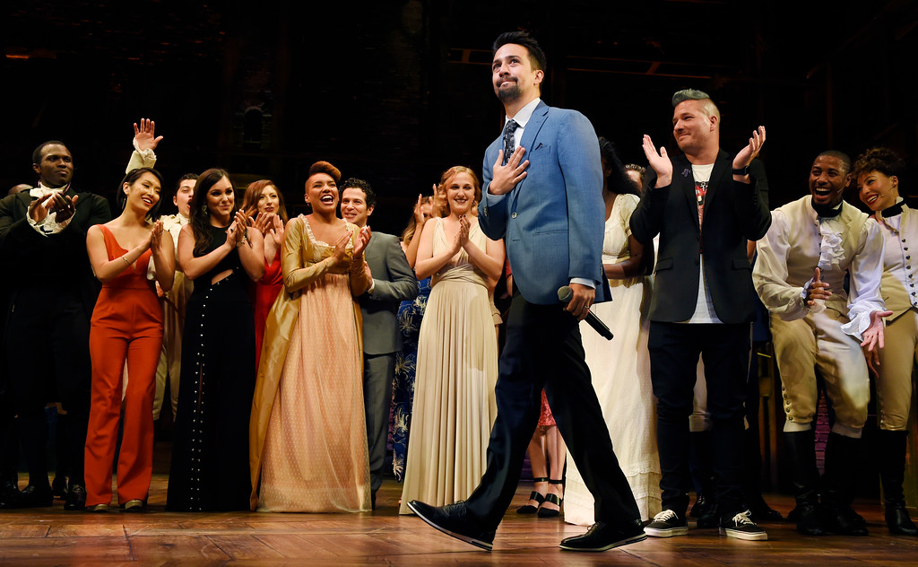 ". Lin-Manuel Miranda, creator of ""Hamilton: An American Musical,\"" walks onstage during the curtain call on the opening night of the Los Angeles run of the show at the Pantages Theatre on Wednesday, Aug. 16, 2017, in Los Angeles. (Photo by Chris Pizzello/Invision/AP)"