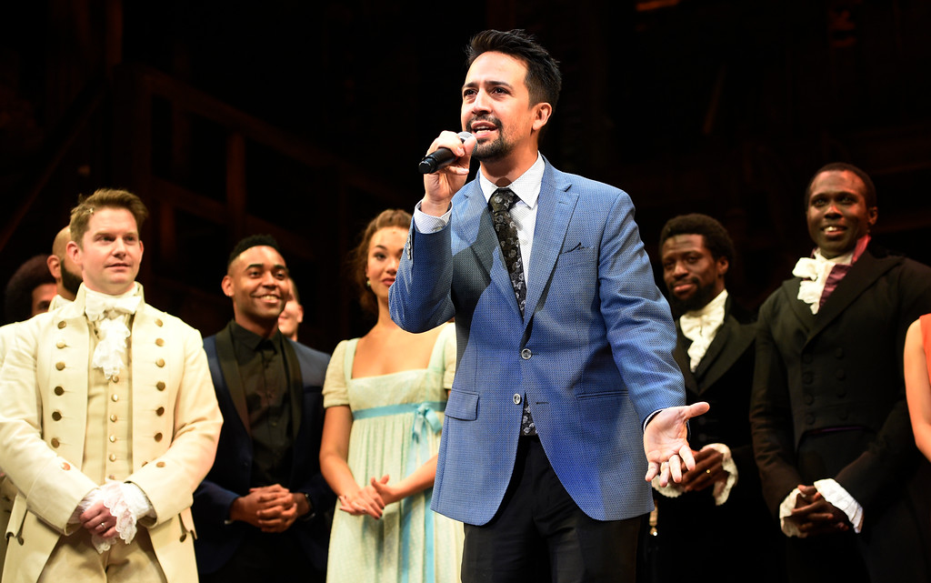 ". Lin-Manuel Miranda, creator of ""Hamilton: An American Musical,\"" addresses the audience during the curtain call on the opening night of the Los Angeles run of the show at the Pantages Theatre on Wednesday, Aug. 16, 2017, in Los Angeles. (Photo by Chris Pizzello/Invision/AP)"