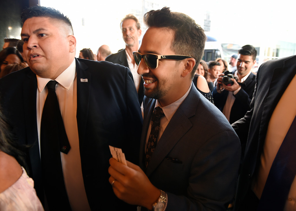 """. Lin-Manuel Miranda, creator of \""""Hamilton: An American Musical,\"""" arrives on the opening night of the Los Angeles run of the show at the Pantages Theatre on Wednesday, Aug. 16, 2017, in in Los Angeles. (Photo by Chris Pizzello/Invision/AP)"""