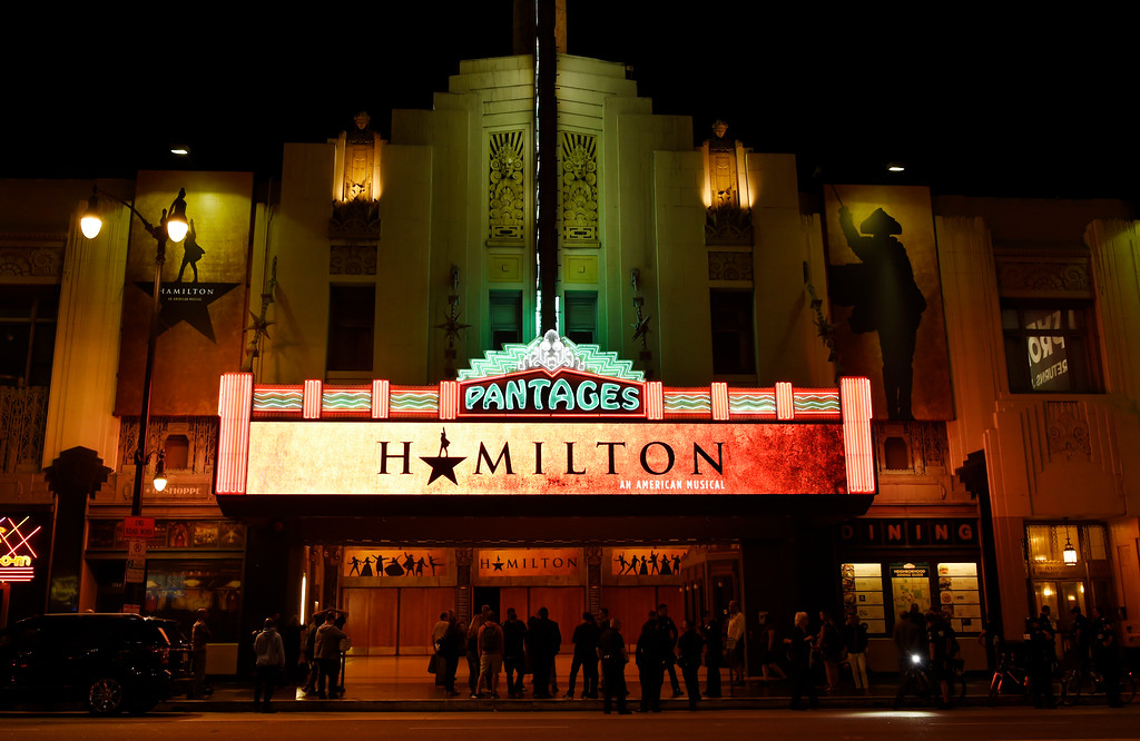 ". The Pantages Theatre marquee is pictured on the opening night of the Los Angeles run of ""Hamilton: An American Musical\"" on Wednesday, Aug. 16, 2017, in Los Angeles. (Photo by Chris Pizzello/Invision/AP)"