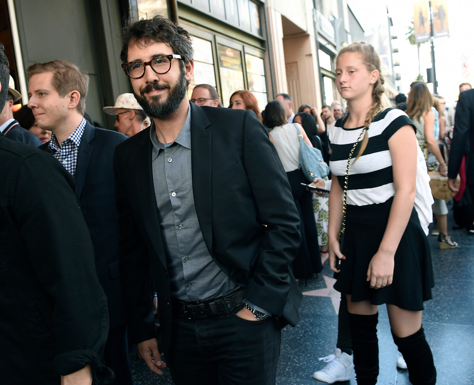 """. Singer Josh Groban, left, arrives on the opening night of the Los Angeles run of \""""Hamilton: An American Musical\"""" at the Pantages Theatre on Wednesday, Aug. 16, 2017, in Los Angeles. (Photo by Chris Pizzello/Invision/AP)"""