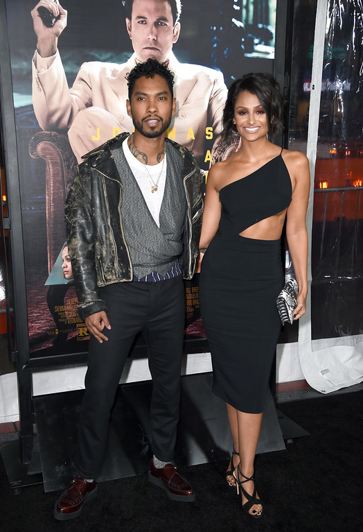 ". HOLLYWOOD, CA - JANUARY 09:  Singer Miguel and Model Nazanin Mandi attend the premiere of Warner Bros. Pictures\' ""Live By Night\"" at TCL Chinese Theatre on January 9, 2017 in Hollywood, California.  (Photo by Frazer Harrison/Getty Images)"