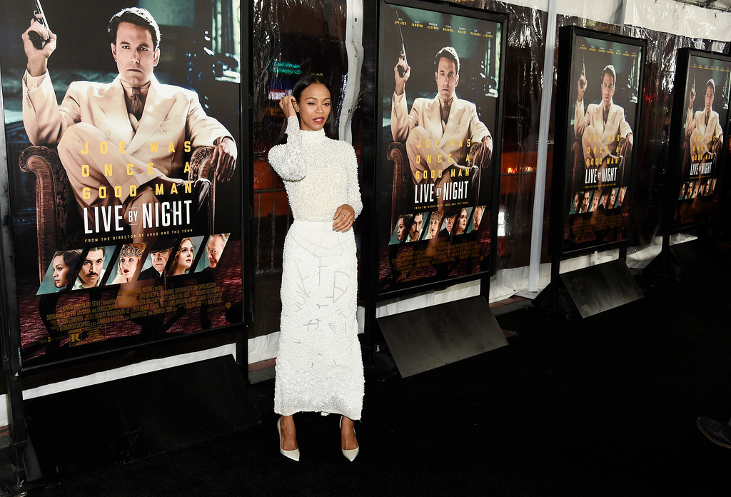 ". Zoe Saldana, a cast member in ""Live by Night,\"" poses at the premiere of the film \""Live by Night\"" at the TCL Chinese Theatre on Monday, Jan. 9, 2017 in Los Angeles. (Photo by Chris Pizzello/Invision/AP)"