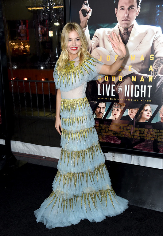 ". HOLLYWOOD, CA - JANUARY 09:  Actress Sienna Miller attends the premiere of Warner Bros. Pictures\' ""Live By Night\"" at TCL Chinese Theatre on January 9, 2017 in Hollywood, California.  (Photo by Frazer Harrison/Getty Images)"