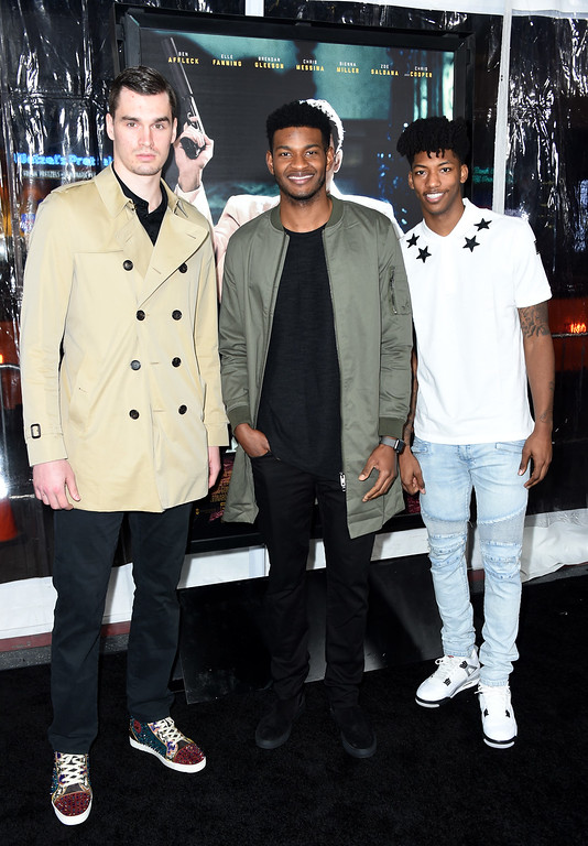 ". HOLLYWOOD, CA - JANUARY 09:  Basketball players Mario Hezonja, CJ Wilcox, Elfrid Payton attend the premiere of Warner Bros. Pictures\' ""Live By Night\"" at TCL Chinese Theatre on January 9, 2017 in Hollywood, California.  (Photo by Frazer Harrison/Getty Images)"