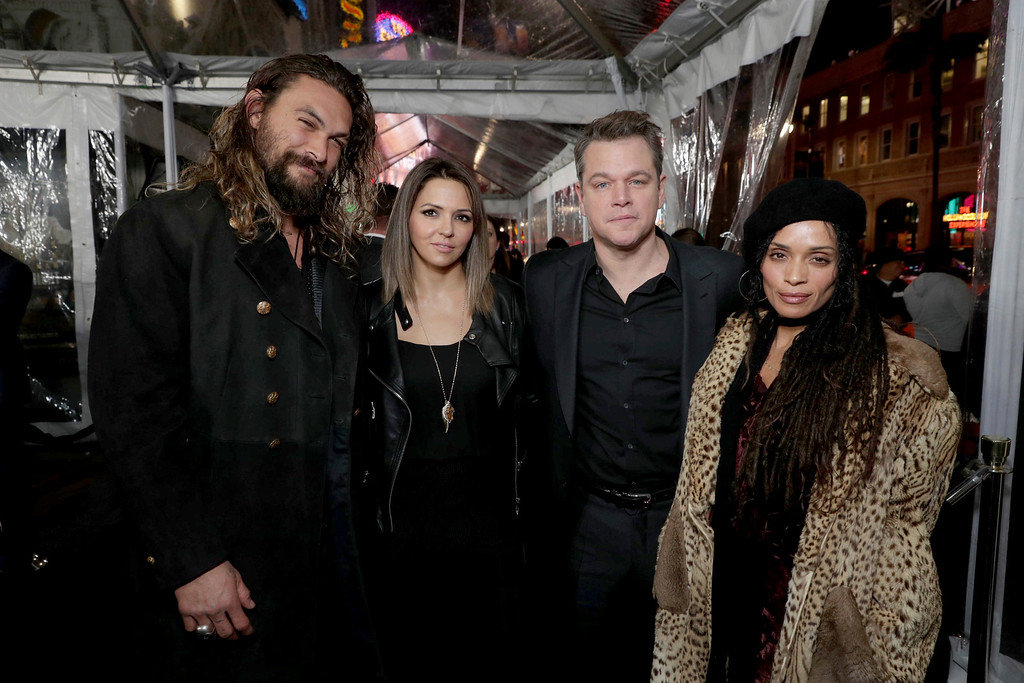 ". Jason Momoa, Luciana Barroso, Matt Damon and Lisa Bonet seen at the World Premiere of Warner Bros. ""Live by Night\"" at TCL Chinese Theater on Monday, Jan. 9, 2017, in Los Angeles. (Photo by Eric Charbonneau/Invision for Warner Bros./AP Images)"