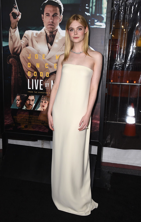 ". HOLLYWOOD, CA - JANUARY 09:  Actress Elle Fanning arrives at the Premiere Of Warner Bros. Pictures\' ""Live By Night\"" at TCL Chinese Theatre on January 9, 2017 in Hollywood, California.  (Photo by Frazer Harrison/Getty Images)"