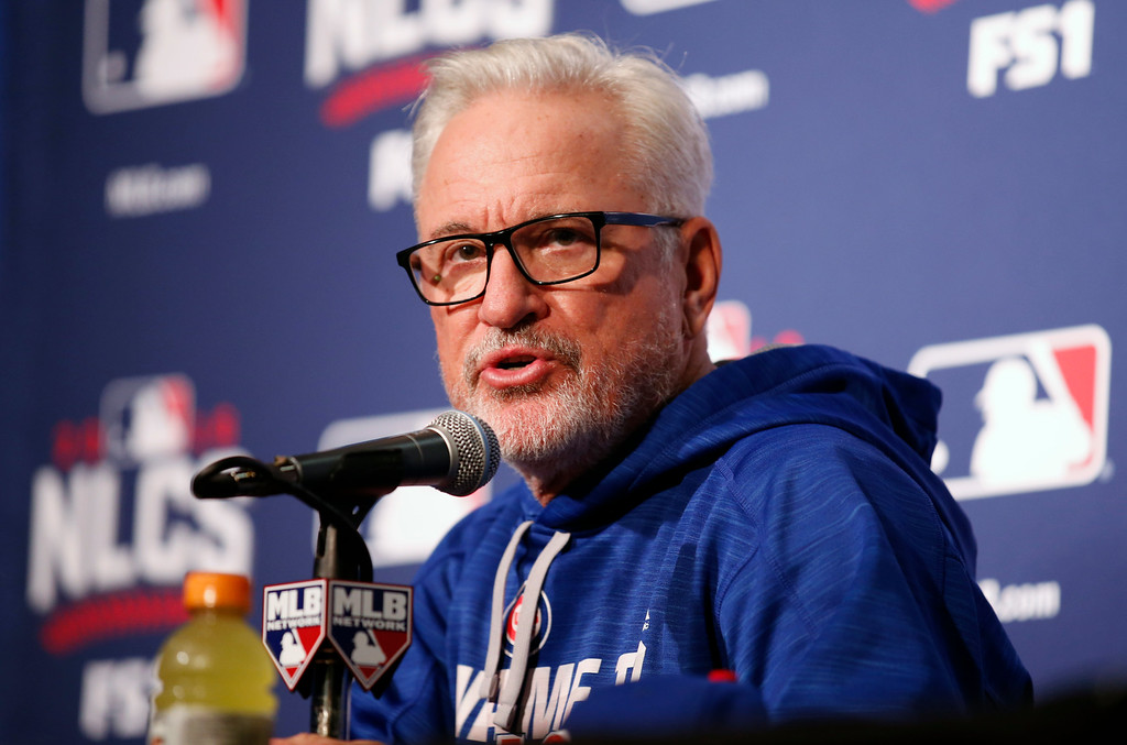 . Chicago Cubs manager Joe Maddon answers a question during a news conference before Game 1 of baseball\'s National League Championship Series against the Los Angeles Dodgers, Saturday, Oct. 15, 2016, in Chicago. (AP Photo/Nam Y. Huh)