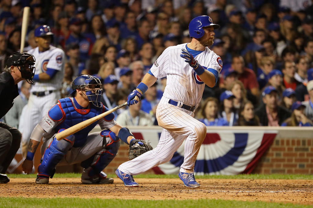 . CHICAGO, IL - OCTOBER 15:  Ben Zobrist #18 of the Chicago Cubs hits a double in the eighth inning against the Los Angeles Dodgers during game one of the National League Championship Series at Wrigley Field on October 15, 2016 in Chicago, Illinois.  (Photo by Jamie Squire/Getty Images)