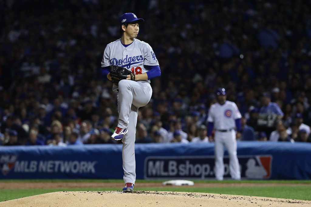 . CHICAGO, IL - OCTOBER 15:  Kenta Maeda #18 of the Los Angeles Dodgers prepares to pitch in the first inning against the Chicago Cubs during game one of the National League Championship Series at Wrigley Field on October 15, 2016 in Chicago, Illinois.  (Photo by Jonathan Daniel/Getty Images)