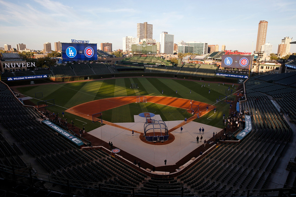 . Los Angeles Dodgers players work out during the team practice at Wrigley Field before baseball\'s National League Championship Series against the Chicago Cubs, Friday, Oct. 14, 2016, in Chicago. The Dodgers play Game 1 of the series against the Cubs on Saturday. (AP Photo/Nam Y. Huh)