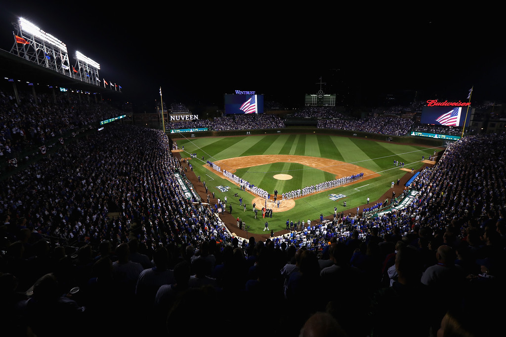. CHICAGO, IL - OCTOBER 15:  A general view as singer John Vincent performs the national anthem prior to game one of the National League Championship Series between the Chicago Cubs and the Los Angeles Dodgers at Wrigley Field on October 15, 2016 in Chicago, Illinois.  (Photo by Tim Bradbury/Getty Images)