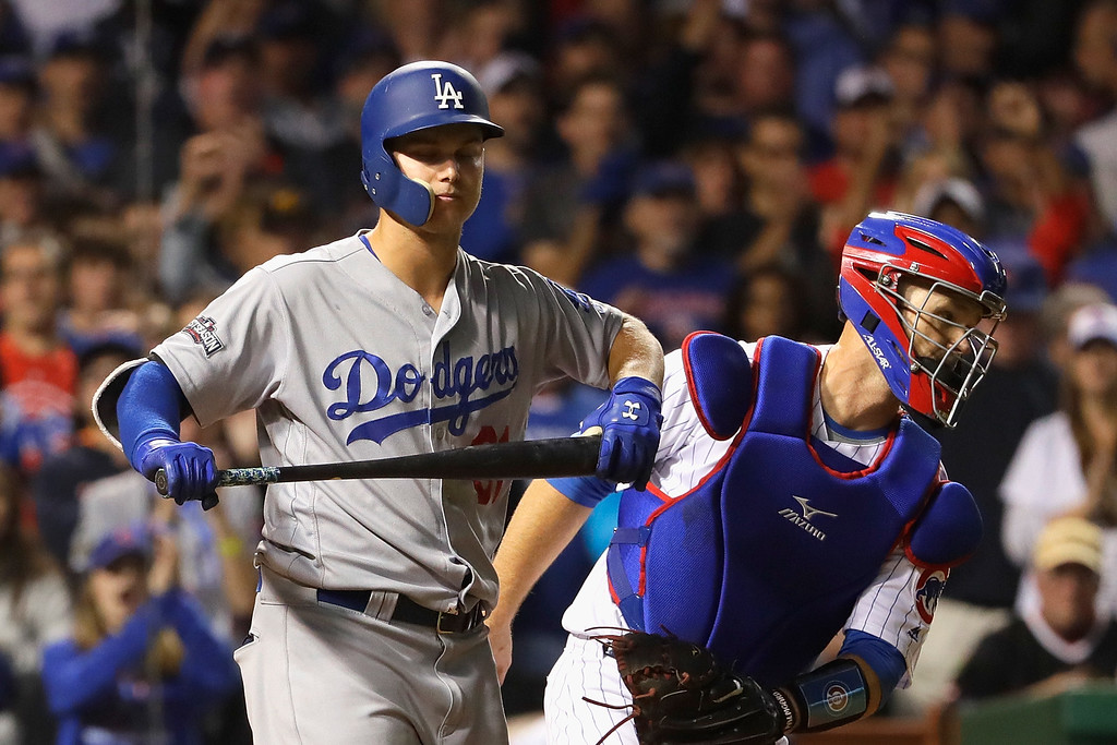 . CHICAGO, IL - OCTOBER 15:  Joc Pederson #31 of the Los Angeles Dodgers reacts after striking out in the seventh inning against the Chicago Cubs during game one of the National League Championship Series at Wrigley Field on October 15, 2016 in Chicago, Illinois.  (Photo by Jamie Squire/Getty Images)