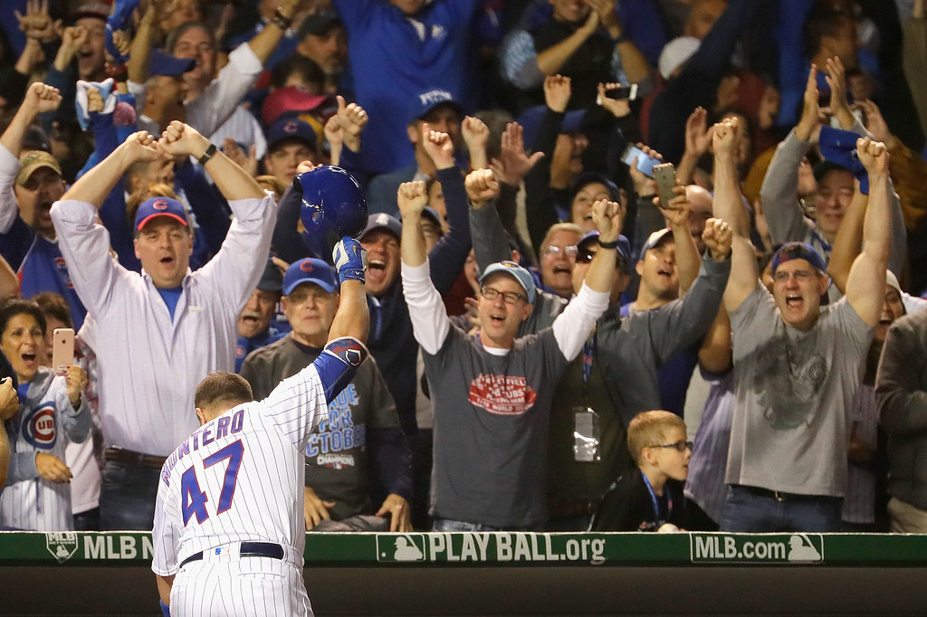 . CHICAGO, IL - OCTOBER 15:  Miguel Montero #47 of the Chicago Cubs celebrates hitting a grand slam home run in the eighth inning against the Los Angeles Dodgers during game one of the National League Championship Series at Wrigley Field on October 15, 2016 in Chicago, Illinois.  (Photo by Jamie Squire/Getty Images)