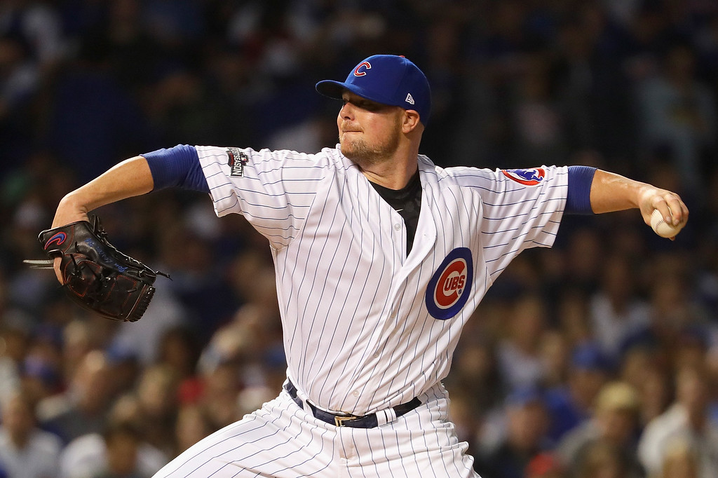 . CHICAGO, IL - OCTOBER 15:  Jon Lester #34 of the Chicago Cubs throws a pitch in the first inning against the Los Angeles Dodgers during game one of the National League Championship Series at Wrigley Field on October 15, 2016 in Chicago, Illinois.  (Photo by Jamie Squire/Getty Images)
