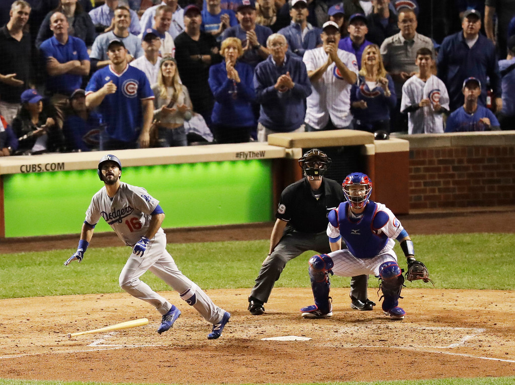 . Los Angeles Dodgers right fielder Andre Ethier (16) hits a home run during the fifth inning of Game 1 of the National League baseball championship series against the Chicago Cubs Saturday, Oct. 15, 2016, in Chicago. (AP Photo/Charles Rex Arbogast)